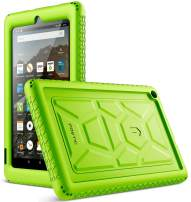 Poetic All-New Fire 7 Tablet Case (9th Gen, 2019 Release), Heavy Duty Shockproof Kids Friendly Silicone Protective Case Cover, Corner Protection, Sound-Amplification Feature, Green