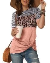 Ferrtye Womens Leopard Striped T Shirts Color Block Short Sleeve Twist Knot Summer Tops Tee