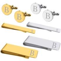 BodyJ4You 8PC Cufflinks Tie Bar Money Clip Button Shirt Personalized Initials Alphabet A-Z Gift Set