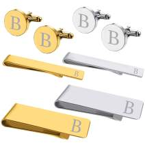 BodyJ4You 8PC Cufflinks Tie Bar Money Clip Button Shirt Personalized Initials Alphabet A-Z Gift Set