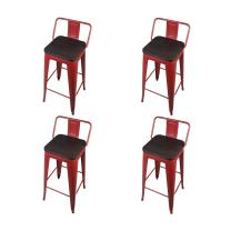 GIA 30-Inch Low Back Stool with Wooden Seat, Red/Dark Wood, 4-Pack