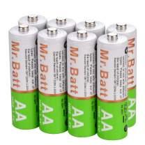 Mr.Batt Rechargeable AA Batteries, 1600mAh, Pack of 8