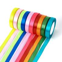 Fashewelry 16mm Fabric Ribbon Mixed Solid Colors Silk Satin Ribbons Roll 5/8 Inch Wide for Party Wedding Gift Package Wrapping Total 250 Yards