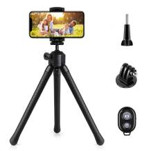 Phone Tripod Stand, YeahWhee Flexible Cell Phone Selfie Stick Tripod with Wireless Remote Control Camera Tripod Stand Holder Mount and Phone Clip for iPhone, Android Phone, DSLR Sports Camera