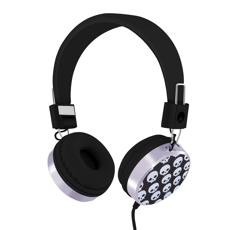 Rockpapa Skull On Ear Wired Headphones Earphones Foldable, Adjustable Headband for Kids Child Toddler Teens Age 3-15, iPod iPad Tablet Laptop Smartphone Mp3 Switch Black