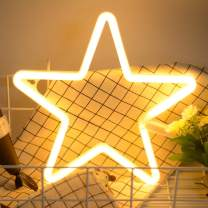 Star Neon Light Signs Warm White Neon Wall Light up Sign Art Decor for Home Kids Bedroom Birthday Party,USB or Battery Operated