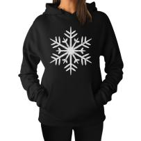 Big White Snowflakes Xmas Women Hoodie