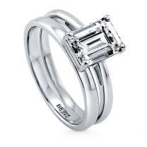 BERRICLE Rhodium Plated Sterling Silver Emerald Cut Cubic Zirconia CZ Solitaire Engagement Wedding Ring Set 2.17 CTW