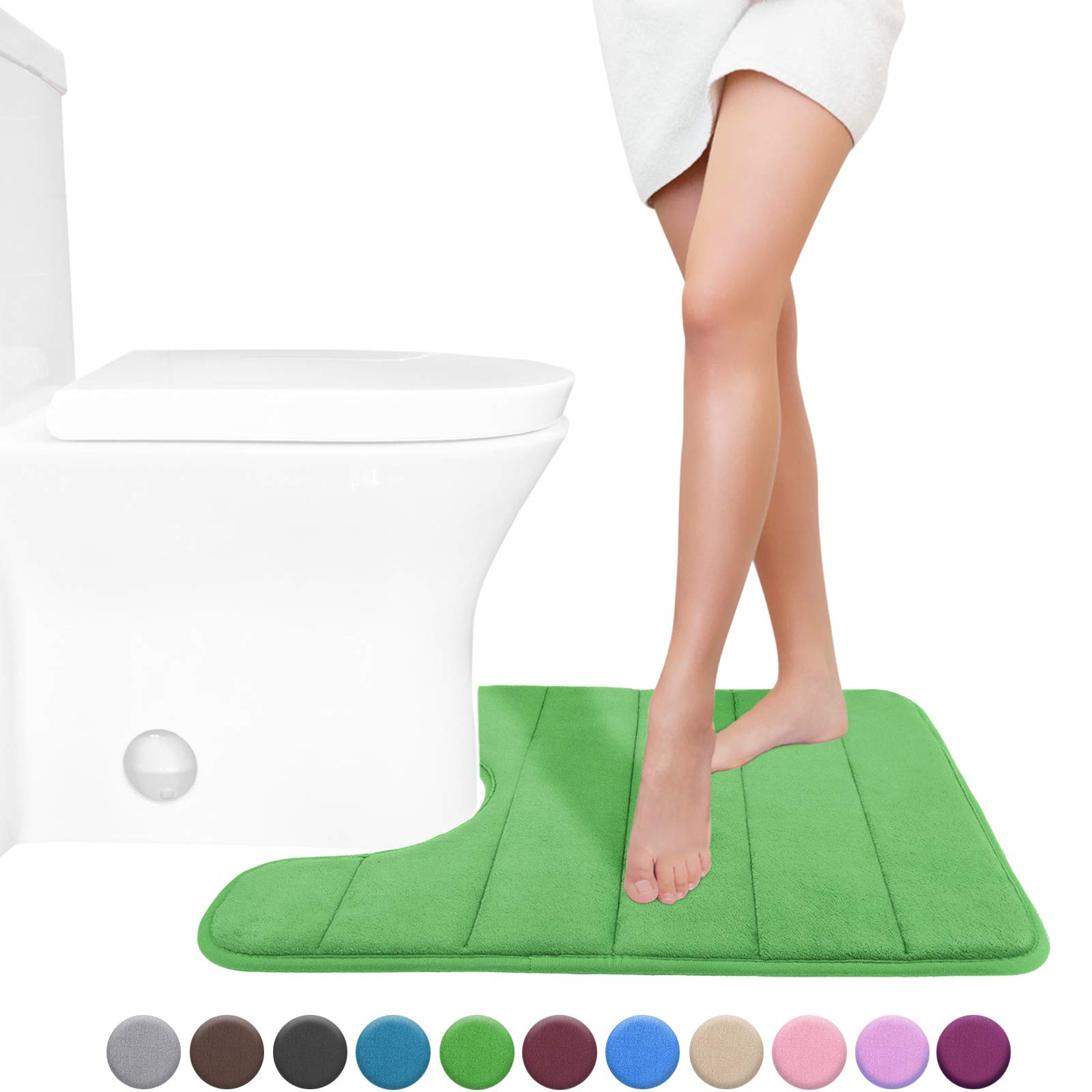 Yimobra Memory Foam Toilet Bath Mat U-Shaped, Soft and Comfortable, Super Water Absorption, Non-Slip, Thick, Machine Wash and Easier to Dry for Bathroom Commode Contour Rug, 24 X 20 Inches, Moss