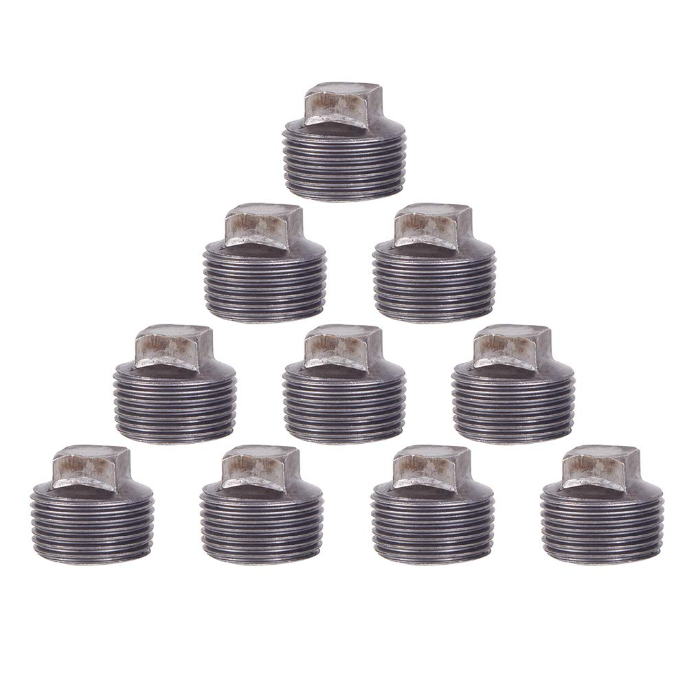 GOOVI 3/4 Inch Malleable Cast iron Pipe Square Cap, DIY Retro Furniture Threaded Pipes and Fittings, 3/4 Inch Pipe Cap 10 Pack.