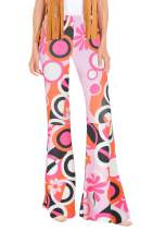 For G and PL Women's Hippie Costume Pants Floral Bell Bottom