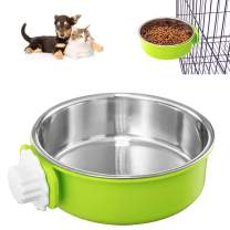 Crate Dog Bowl, Removable Stainless Steel Coop Cup Hanging Pet Cage Bowl Large Water Food Feeder for Dogs Cats Rabbits