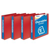 Mead 1-1/2 Inch Binders, D Ring Binder, Durable, Customizable, Red, 4 Pack (W465-34-1797PP)