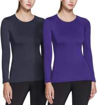 TSLA 1 or 2 Pack Women's Thermal Long Sleeve Tops, Mock Turtle & Crew Neck Shirts, Fleece Lined Compression Base Layer