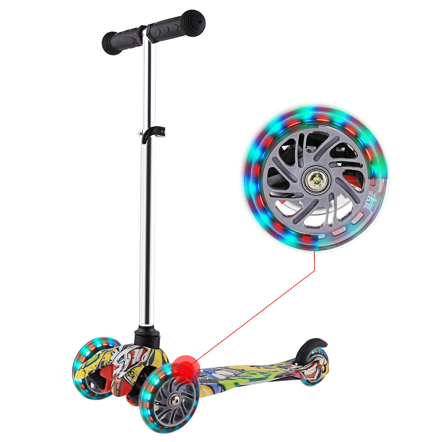 WeSkate Mini Scooter for Kids, Lights Up Scooter for Girls Boys, Toddlers Scooter with 4 Level Adjustable Height, Design for Children Ages 2-8
