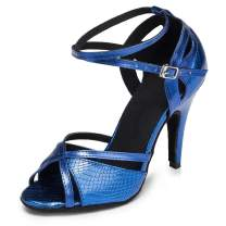 HIPPOSEUS Women Latin Dance Shoes with Glitter Ballroom Salsa Performance Practice Shoes,Model U221
