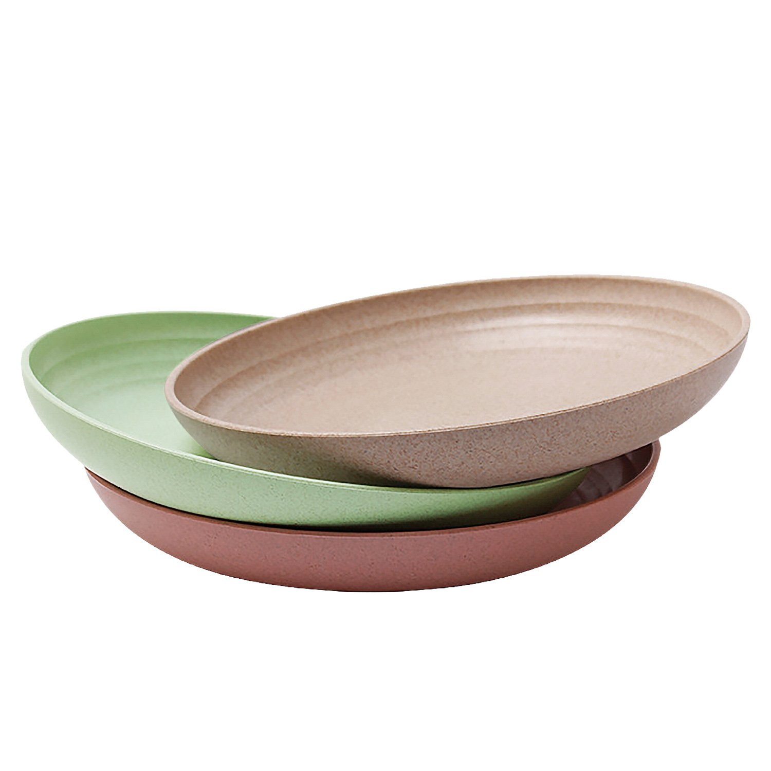 """3 Pack Lightweight Wheat Straw Plates 7.87"""", iTavah Unbreakable Plates Set, Non-toxin Healthy Eco-friendly Dishes, Dinner Plates Dishwasher Safe Microwave Safe Tableware Dinnerware"""