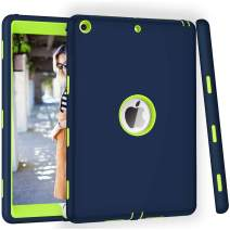 ZHK iPad 7th Generation Case, iPad 10.2 2019 Case, Heavy Duty Shockproof Case High Impact Resistant Rugged Hybrid 3 Layer Full-Body Protective Case Cover for Apple iPad 10.2 inch 2019-Blue Green