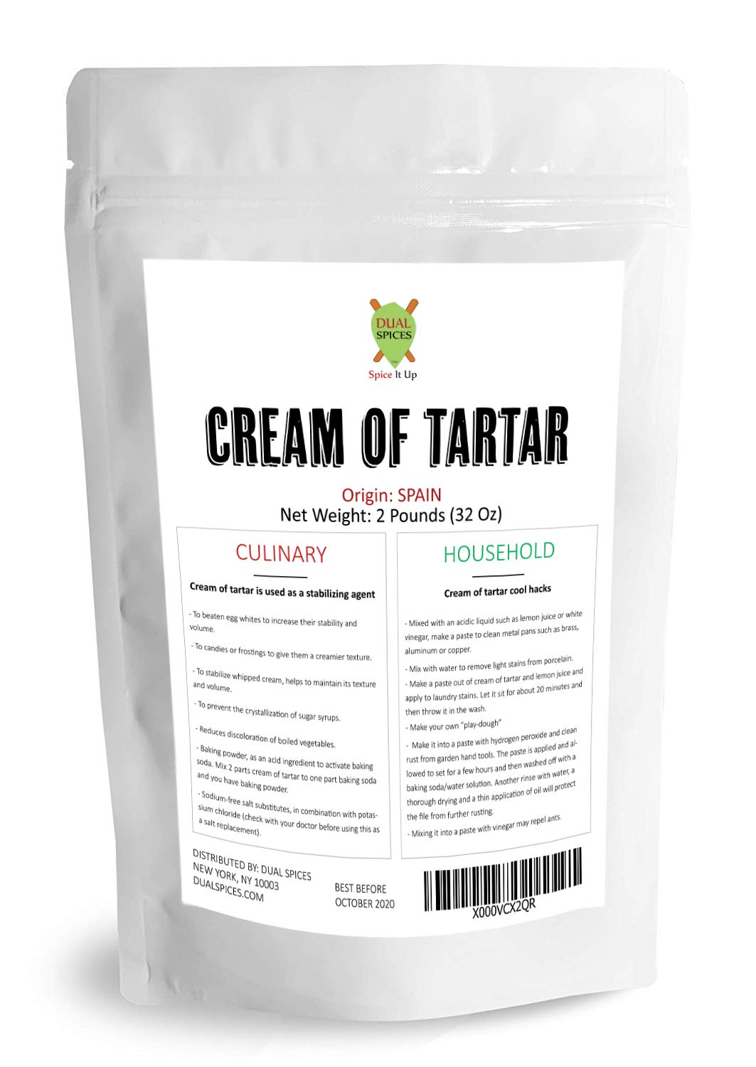 Dualspices CREAM OF TARTAR USP GRADE 2 POUNDS - 32 OZ, Bulk, Gourmet - DIY Cleaning Products, All-Natural