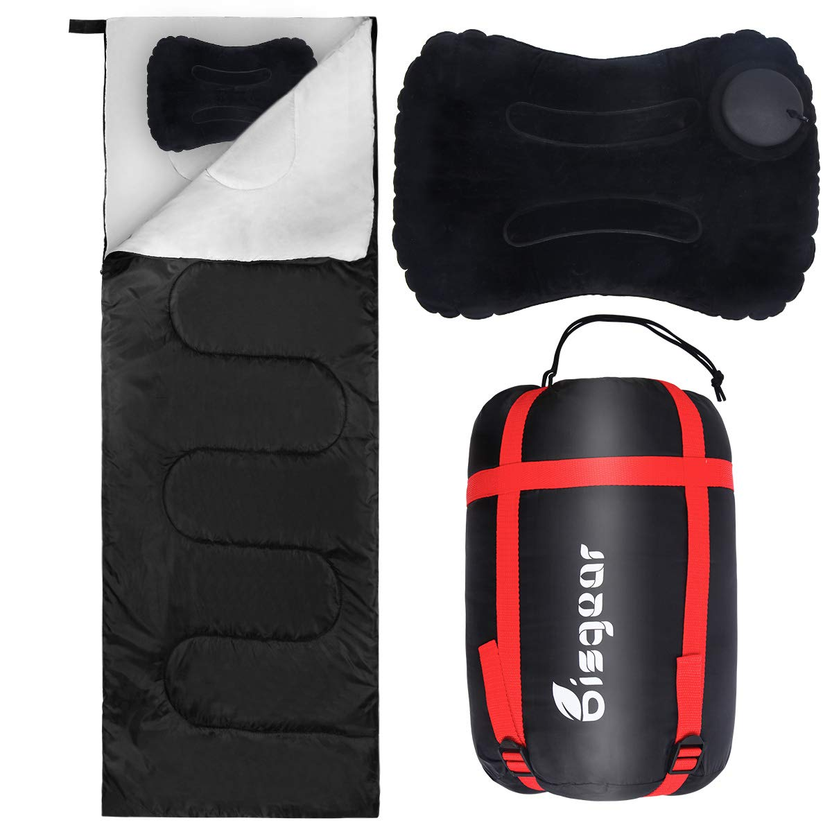 Bisgear Lightweight Sleeping Bag+ Inflatable Pillows for Warm Weather - Backpacking Camping Envelope Portable Comfort Water Resistantwith Compression Sack - Great for Kids, Adult