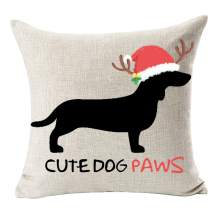 Cute Various Pet Dogs Human Friends Boston Terrier Dachshund Red Christmas Hat Cute Dog Paws Cotton Linen Throw Pillow Cushion Cover Decorative Sofa Bedroom Living Room Square 18 Inches (Rose Red)