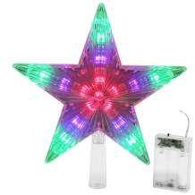 Blissun Star Tree Topper with 31 LED Lights, Multi-Color Twinkle Star Treetop Christmas Tree Decoration, 9 Inches