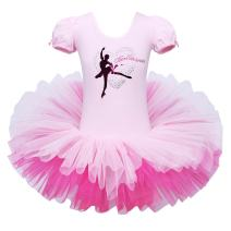 BAOHULU Leotard for Girls Ballet Dance Short Sleeve Full Tulle Tutu Skirted Dress Ballerina Costumes