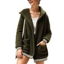 kaimimei Women Sherpa Hooded Cardigan Fluffy Jacket Winter Open Front Faux Fleece Coat Outwear with Pockets