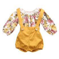 GRNSHTS Baby Girls Floral Suspenders Pant Set Long Sleeve Romper + Short Overalls