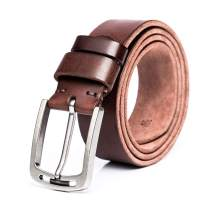 Men's Brown Leather Dress Belts Casual For Jeans Single Prong Buckle Packing With Gifts Box