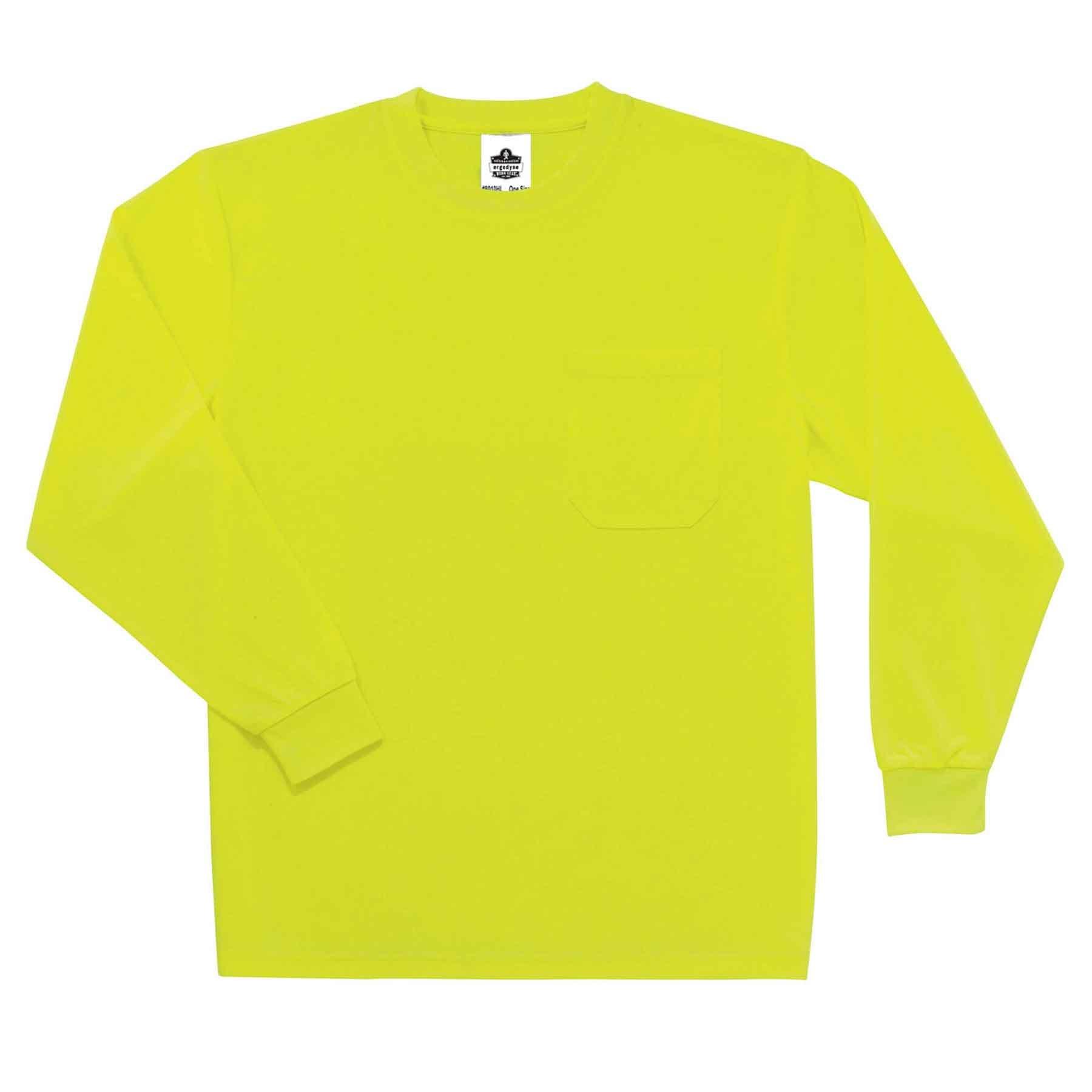 Ergodyne GloWear 8091 Non-Certified High Visibility Long Sleeve T-Shirt, Small, Lime