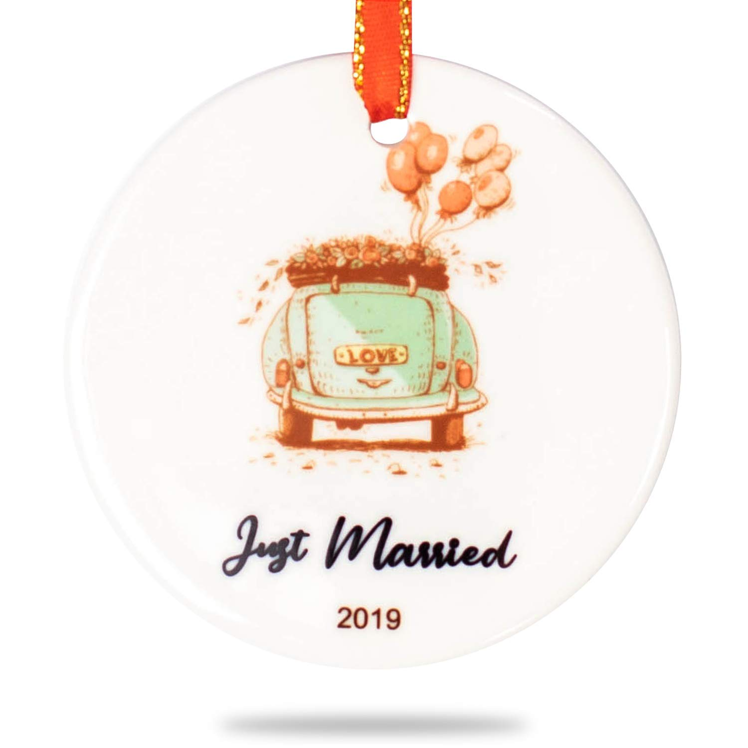 Christmas Ceramic Ornament: First Christmas Married 2019, JUST Married 2019 (CAR-Married)