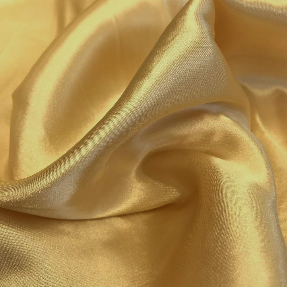 """mds Pack of 10 Yard Charmeuse Bridal Solid Satin Fabric for Wedding Dress Fashion Crafts Costumes Decorations Silky Satin 44"""" Gold"""