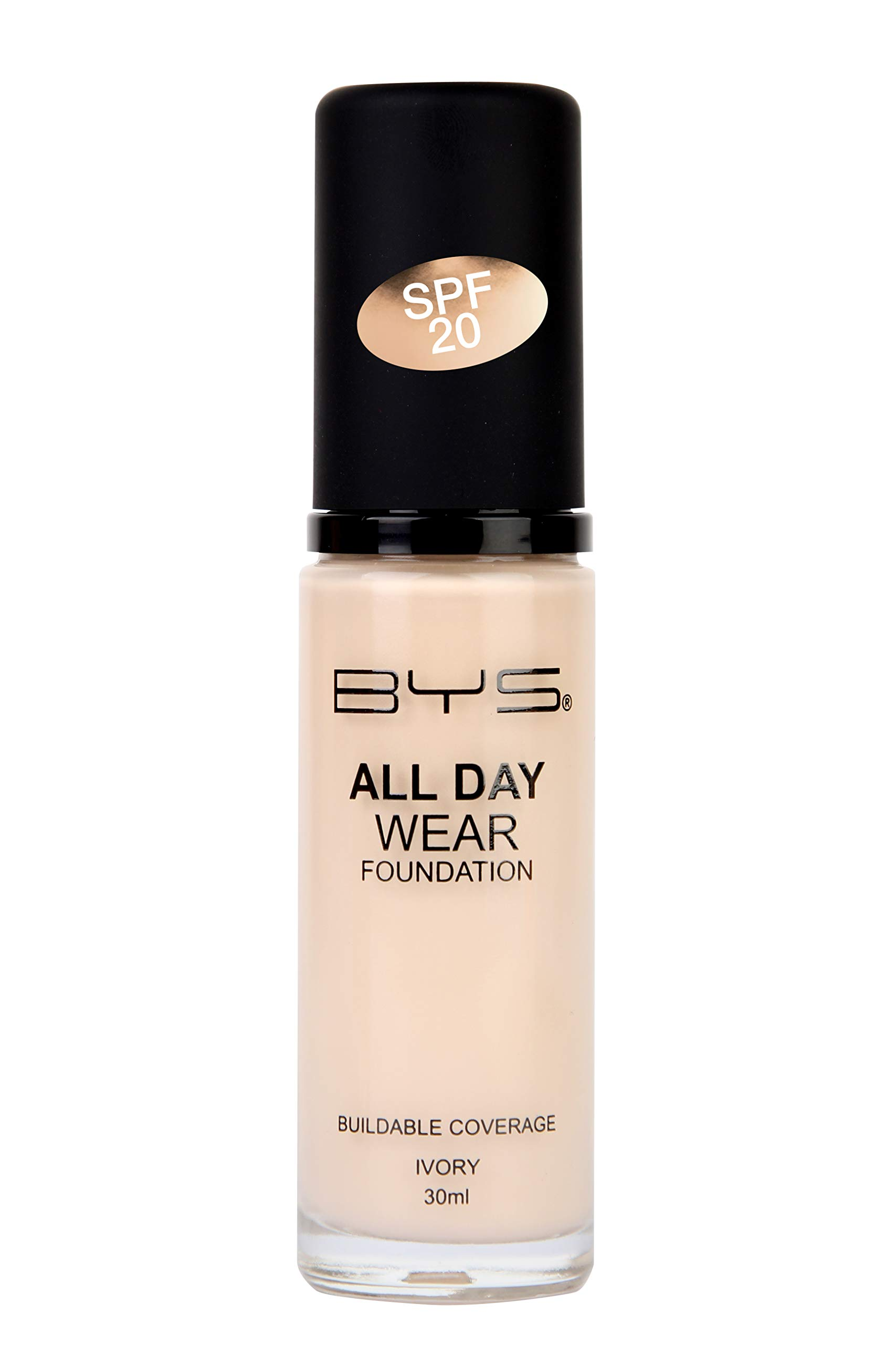 BYS All Day Wear Liquid Foundation Ivory - flawless base lasts all day no cake or flake buildable coverage Argan Oil antioxidant Vitamin E Peptides Vitamin C Hyaluronic Acid
