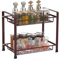 Spice Rack,Ace Teah 2 Tier Spice Organizer Kitchen Bathroom Countertop Storage Organizer Seasoning Shelf Holder,Bronze
