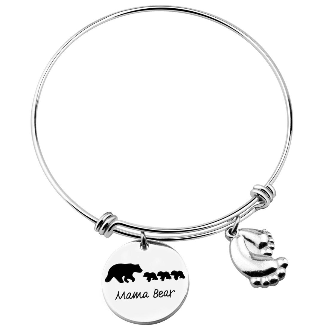 MAOFAED Personalized Mama Bear Bracelet, Mama Bear Jewelry, Wife Gift Jewelry