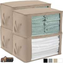 Gorilla Grip Premium Foldable Fabric Storage Bag, 22x13 Inch Bags, Water Resistant, Durable Handles, Zippered Lids, Under Bed Deep Storage Bin for Storing Clothes, Blankets, Shoes, 4 Pack Beige