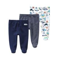 Teach Leanbh Newborn Baby 3 Pack Footed Pants Cotton Embroidery Pringting Casual Leggings 0-12 Months