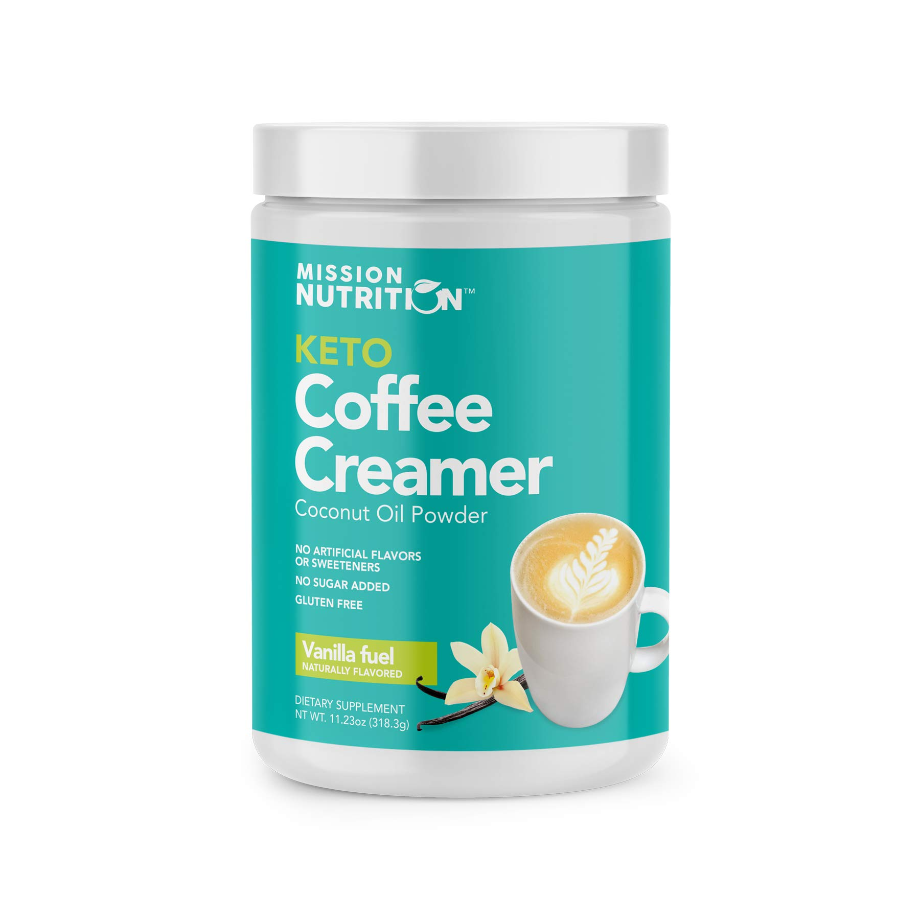 Mission Nutrition Keto Coffee Creamer - Low Carb (Zero Net), No Added Sugar, Ketogenic, Gluten Free - Made with Coconut Oil Powder Sweetened with Stevia - 30 Servings (Vanilla)