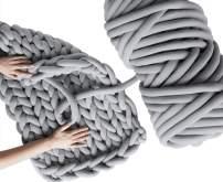 Arm Knitting Yarn, Hand Knitting, Arm Knit Yarn, Jumbo Yarn, Cotton Tube Yarn Super Soft Washable Bulky Giant Yarn for Extreme Arm Knitting DIY (Grey, 5 lbs / 95 Yards)