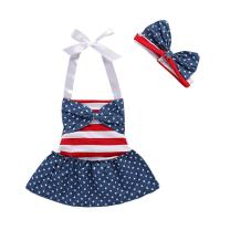 Saeaby July 4th American Flag Romper Dress Striped Stars Print Patriotic Bodysuit Outfit for Baby Girls