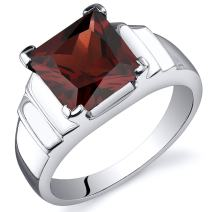 Peora Garnet Ring in Sterling Silver, 3 Carats Princess Cut Statement Ring, Comfort Fit, Sizes 5 to 9