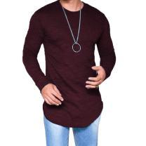 LIWEIKE Mens Solid Extended Hipster Hip Hop Swag Curve Hem Long Sleeve T Shirt