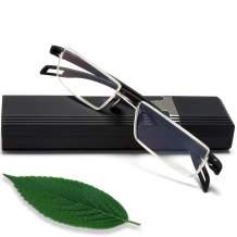 Reading Glasses Half Frame Readers - Blue Light Blocking Slim Stylish Computer Readers Best Designer Black +2.75