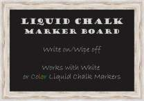 "Framed Liquid Chalk Marker Board | Modern Framed Home Office Board | Alexandria White Wash Narrow Framed Organization Board | 27.25 x 19.25"""