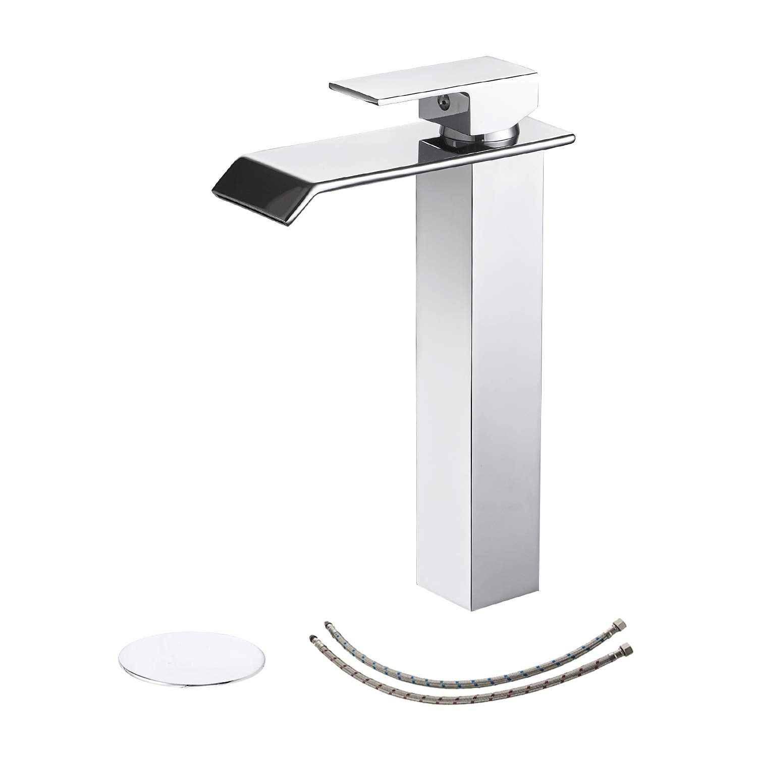 BWE Bathroom Faucet with Drain Assembly and Supply Hose Lead-free Lavatory Waterfall Vessel Sink Faucet Single Handle Mixer Tap Deck Mounted Chrome