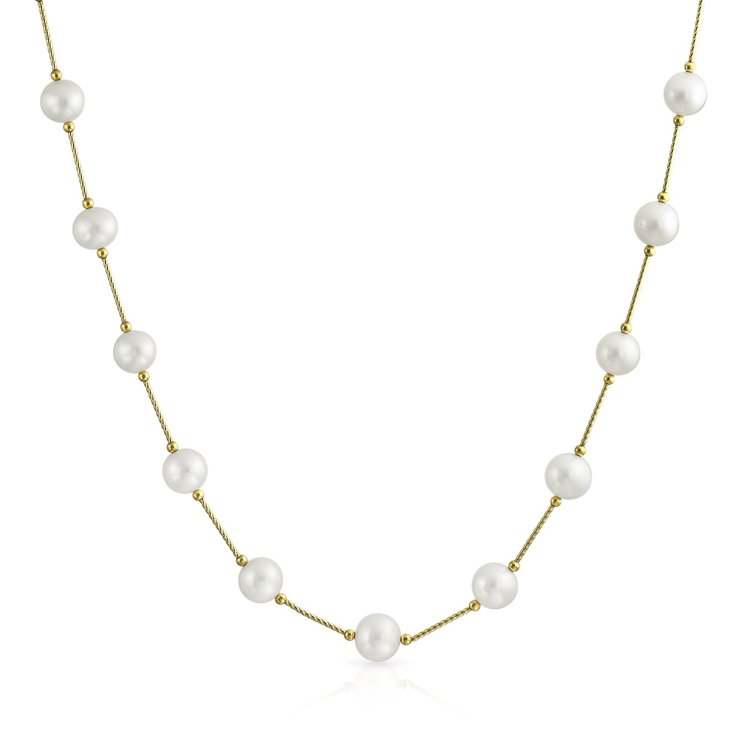 Simple Real 14K Yellow Gold Bar Tin Cup White Freshwater Cultured Pearl Necklace For Women 16 18 20 Inch