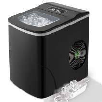 Countertop Ice Maker Portable Ice Making Machine  -Bullet Ice Cubes Ready in 6 Mins - Makes 26 lbs Ice in 24 hrs - Perfect for Home/Office/Bar/Kitchen, LCD Display & Ice Scoop & Bucket(Black)