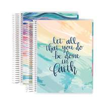Erin Condren 12 - Month 2020-2021 Faith Quote & Layers Colorful Coiled Daily Life Planner (July 2020 - June 2021) Layers Colorful Interior - Set of Two 6-Month Planners. 12 Months of Planning