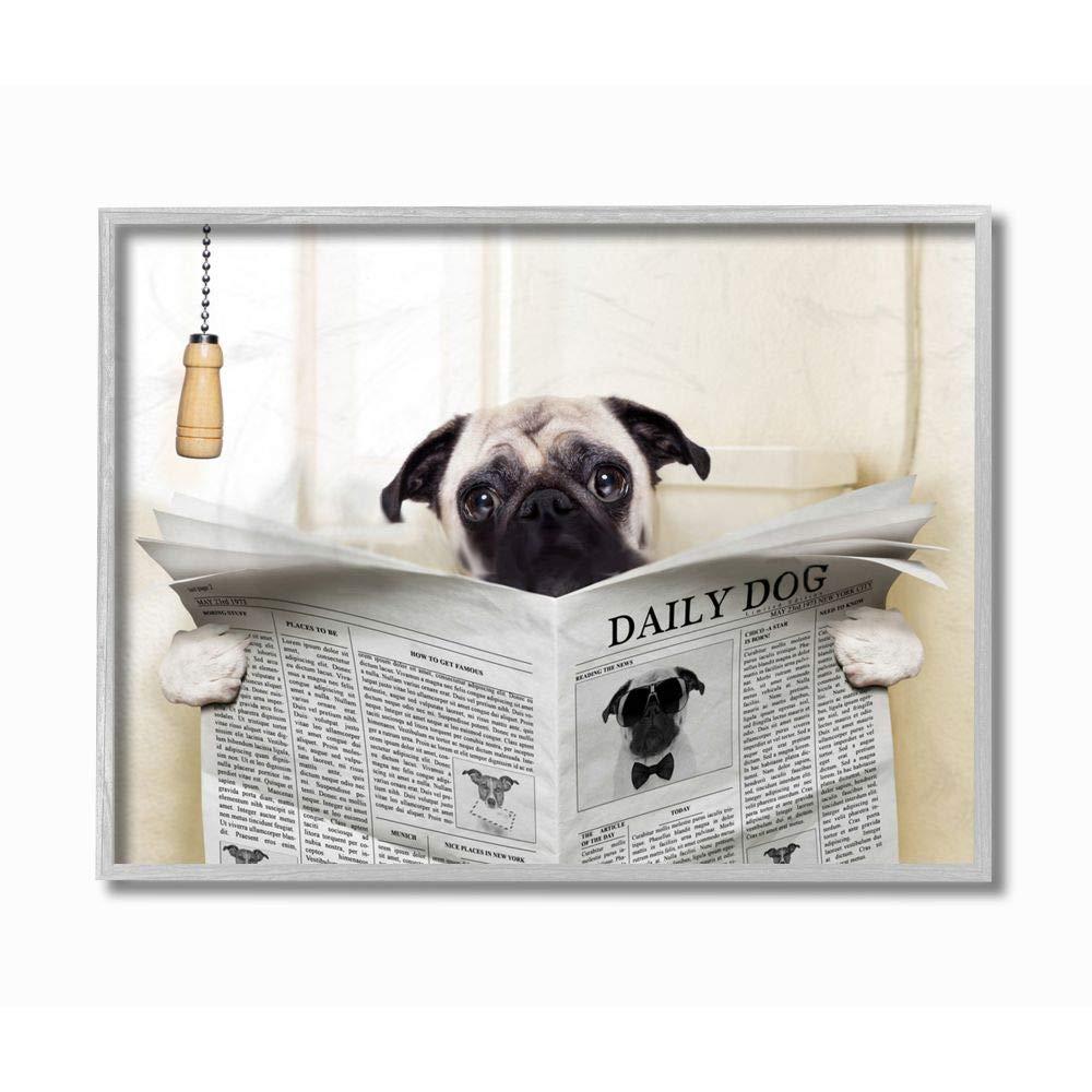 Stupell Industries Pug Reading Newspaper in Bathroom Grey Framed Wall Art, 16 x 20, Design by Artist in House Artist